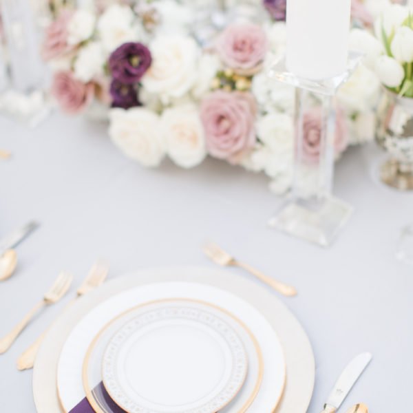 purple Silver sweetheart table