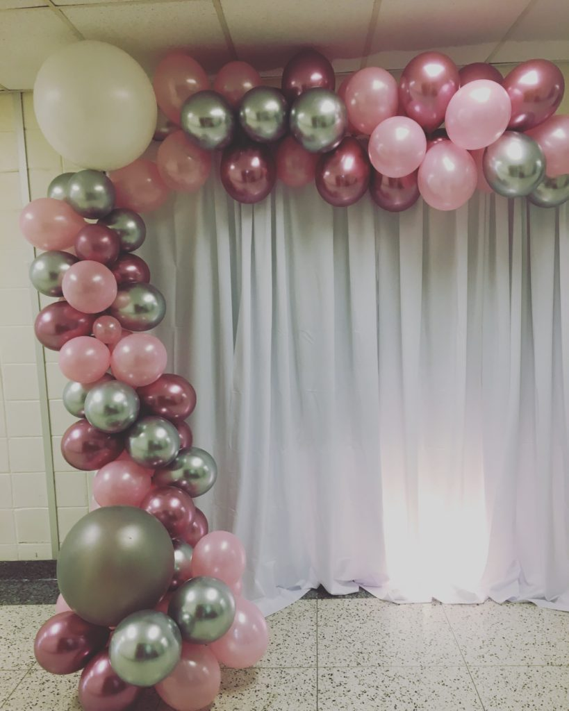 pink and silver Balloon Garland