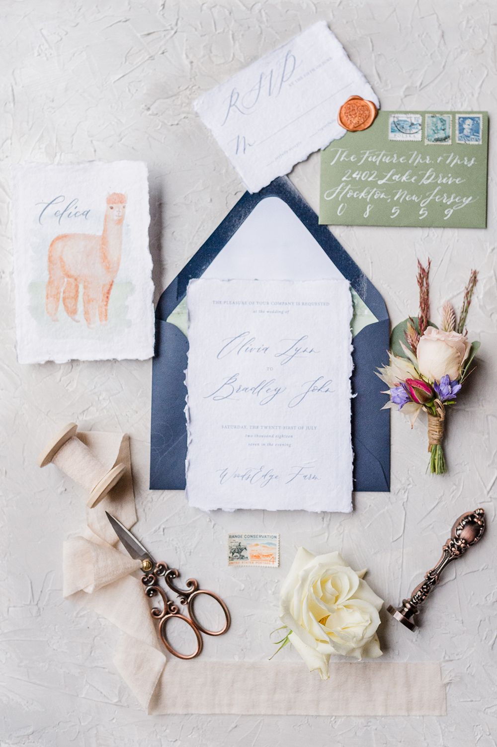 llama wedding stationery